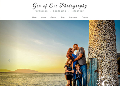 Screenshot of the Gen of Eve Photography website